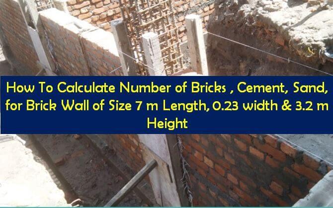 Bricks, Cement, Sand Calculation